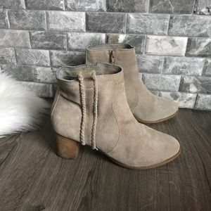 Coconuts Matisse beige leather braided ankle boot